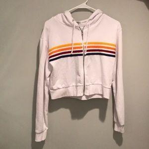 White with multicolored stripes sweatshirt